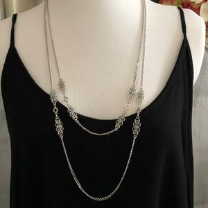 Sara Coventry Silver Tone Dbl Chain Necklace *L1S*